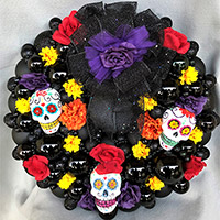 Large Tres Calaveras Purpura Wreath